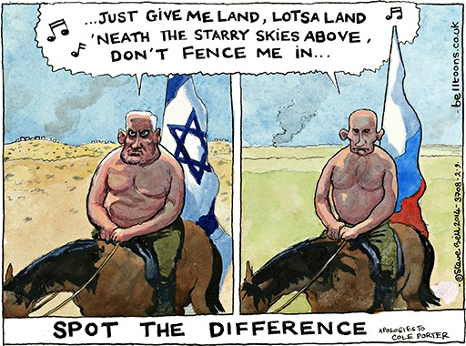 "Guardian cartoonist Steve Bell can't ""spot the difference"" between Russia and Israel"