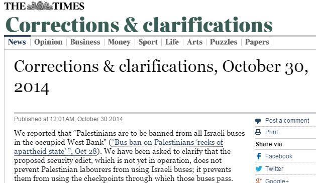CiF Watch prompts correction to Times of London Palestinian 'bus ban' claim