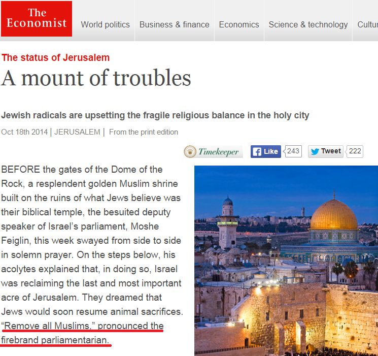 Economist deceives in citing partial quote by Israeli MK about the Temple Mount