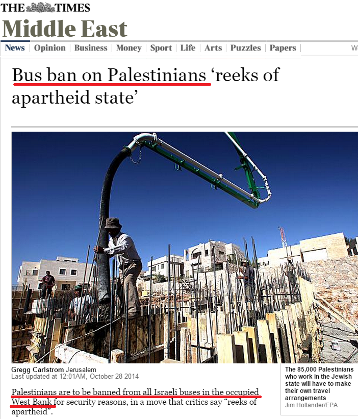 "Times of London falsely reports apartheid-style ""bus ban on Palestinians"""