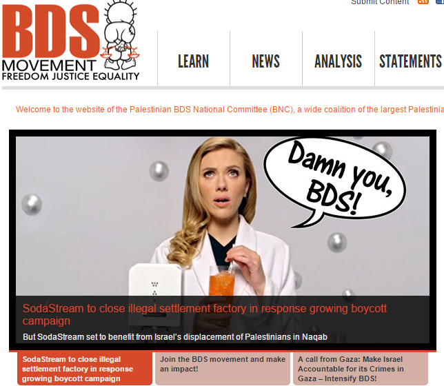 Homepage of BDS Movement, Nov. 2