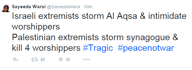 Former UK minister Warsi tweets 'morally indefensible' equivalence in Jerusalem terror attack (Update)