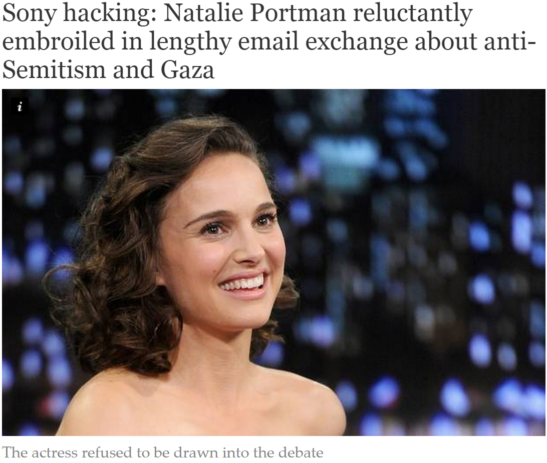 Independent flubs key passage in story about Natalie Portman & the Sony hacking scandal