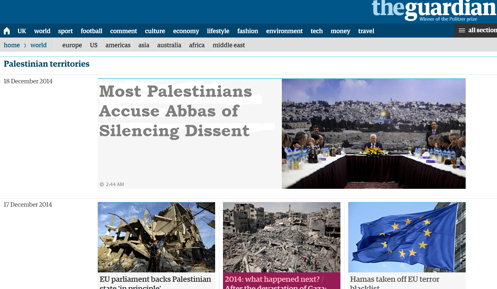 This AP story about Abbas's stifling of dissent won't appear in the Guardian
