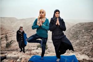 Palestinians practice yoga on a West Bank hilltop
