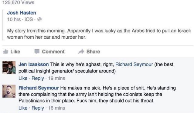 """Former Guardian contributor tells Jewish journo that Palestinians should """"cut his throat""""."""