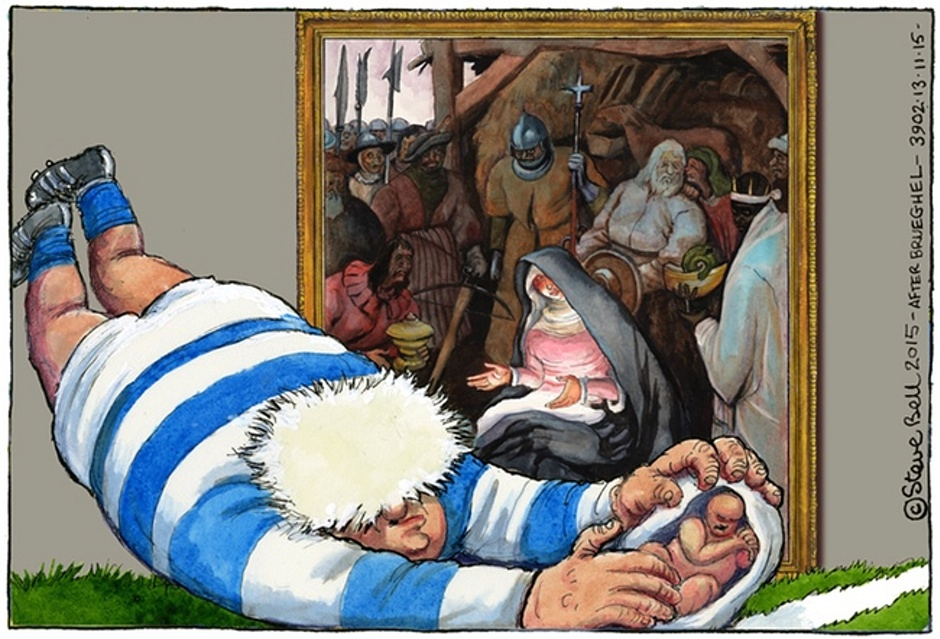 Elsewhere in the UK media: Cartoon depicts Boris Johnson tackling baby Jesus