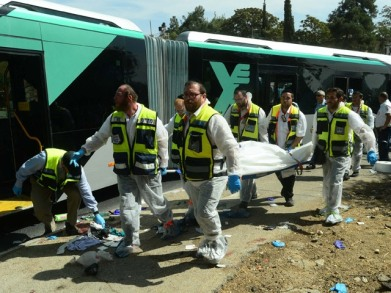 Body of victim removed from scene of terror attack on bus in Jerusalem
