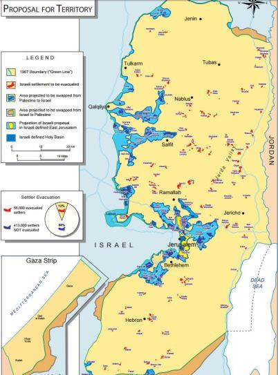 Map representing Ehud Olmert's offer to Mahmoud Abbas in 2008.