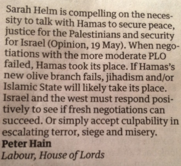 Peter Hain's letter in Saturday's Guardian.