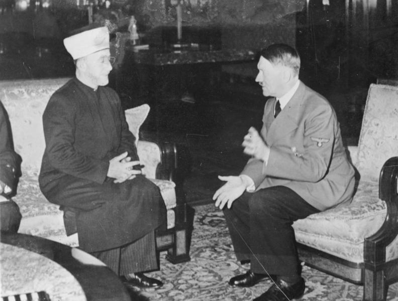 Hitler hosts the Mufti in 1941 (Times Of Israel/photo credit: Heinrich Hoffmann Collection/Wikipedia)