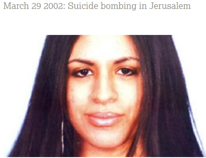 Rachel Levy blown up by female suicide bomber in Jerusalem on March 29th 2002.
