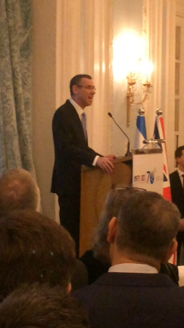 Ambassador Regev speaking on Tuesday night at The Savoy.