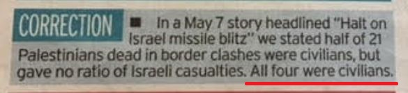 UK Media Watch prompts correction to Daily Mirror omission on Israeli casualties