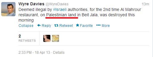 Davies Tweet 2013 Beit Jala 1